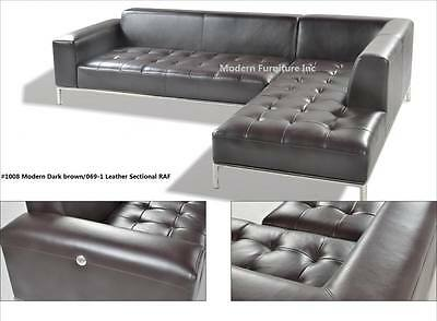 Brown Leather Chaise - Modern contemporary Leather Sectional in Dark brown chaise + sofa 2 PC set #1008