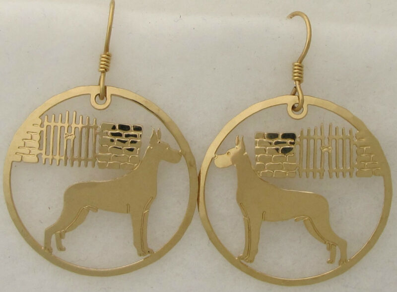 Great Dane Jewelry  Gold Scene Dangle Earrings by Touchstone