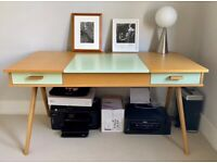 Beautiful Stroller Desk, from MADE . com in Oak and Green - Very good condition