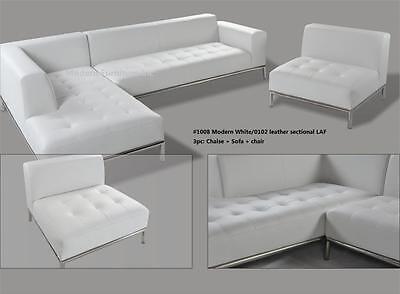 2 PC Modern contemporary White Leather Sectional Sofa w/ chrome base #1008 Chrome Sectional Sofa
