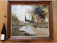 Large Vintage Oil Painting Landscape Dutch School Oak Frame Signed Speybroeck