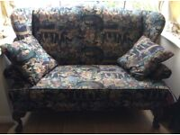 Beautiful Edwardian-style loveseat / sofa / couch with matching cushions