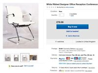 office / study white faux leather Designer chair