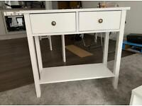 White Two Drawer Entrance Table