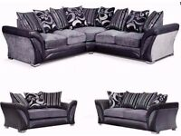 **FREE LONDON DELIVERY** 3+2 SOFA OR SHANNON CORNER 5 SEATER GREY/BLACK FABRIC LEATHER SETTEE FARROW