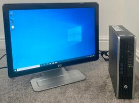 "HP ELITE SMALL MICRO DESKTOP PC COMPUTER & HP 19"" LCD MONITOR I5 8GB RAM 1TB HDD WIN 10 OFFICE 16"