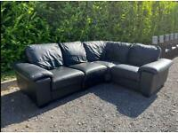FREE DELIVERY 🚚 HUGE DFS BLACK REAL LEATHER CORNER SOFA GOOD CONDITION
