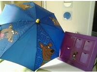Scooby Doo Umbrella and hanging picture frame.