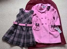 Brand NEW with tag Age 2-3 Pink Coat & pinafore dress set