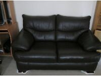 SUPERB LARGE TWO SEATER CHOCOLATE BROWN LEATHER SOFA. AS NEW.