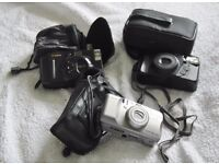 3 BEAUTIFUL CAMERAS FOR SALE I FUIJI WITH OWN BAG 1 CANNON WITH OWN BAG AND 1 MINOLTA WITH OWN BAG