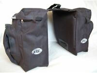 NEW, (1862) ETC DOUBLE PANNIER BAG, CYCLING BICYCLE BAGS BIKE REAR RACK DOUBLE CARRIER