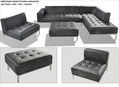 4 PC Modern contemporary black Leather Sectional Sofa w/ chrome base #1008 Chrome Sectional Sofa