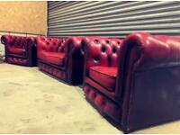 Vintage leather chesterfield suite, pair of armchairs and sofa