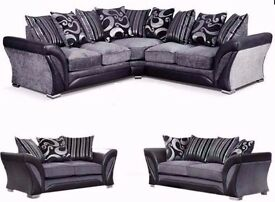 GUARANTEED SAME DAY DELIVERY## CHENILLE FABRIC AND PU LEATHER SOFA CORNER AND 3+2 SEATER AVAILABLE