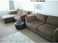 2 x Brown (Fabric) Sofas incl Corner For Sale