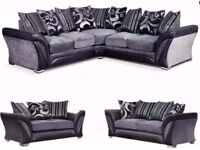 🌷💚🌷BRAND NEW 🌷💚🌷SHANNON 3 AND 2 SEATER FABRIC SOFA ,DUAL ARM CORNER IN BLACK/GREY, BROWN/BEIGE