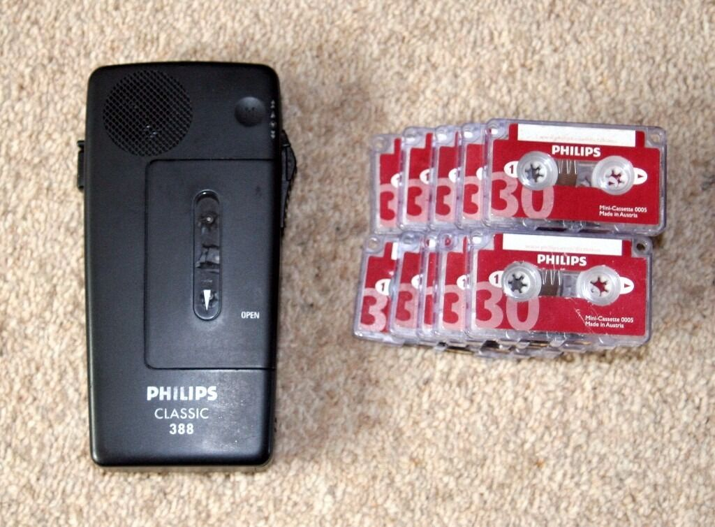 Philips Classic 388 Voice Recorder Dictaphone w/ Cassettesin Wakefield, West YorkshireGumtree - Philips Classic 388 Voice Recorder Dictaphone w/ Cassettes Here i have my Philips Classic 388 Voice Recorder Dictaphone w/ Cassettes. This is in full working order and comes with 10 blank Philips Mini Cassettes. If you are looking at this you know...