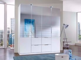 SAME DAY/ NEXT DAY DELIVERY ADD ON F 4 DOOR WARDROBE GERMAN WARDROBE WITH 4 DRAWERS HANGING RAIL