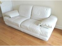 White Leather 3 seater Sofa for sale.