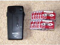 Philips Classic 388 Voice Recorder Dictaphone w/ Cassettes