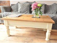Restored handmade solid pine coffee table in Annie Sloan