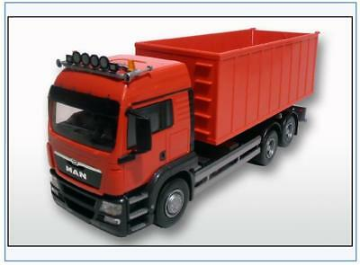 20885 MAN TG-S 3-Achser mit Abrollmulde, hohe Bordwand, rot, EMEK 1:25, NEU&