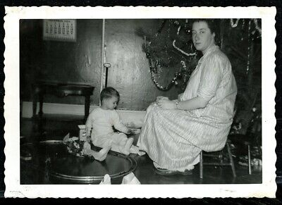 Vintage Christmas Photo WEARY MOM WATCHES TODDLER CHRISTMAS MORNING TRAIN SET