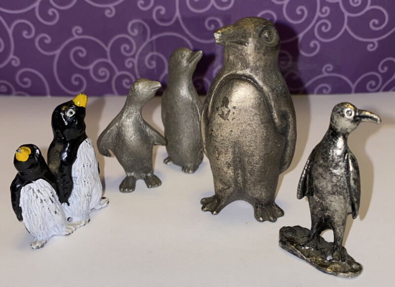 Penguin Lot Of 5 Figurine Pewter Metal Preowned