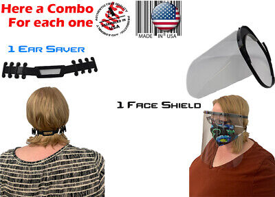 Clear Protective Face Shield Headgear Ear Saver Combo Made In The Usa