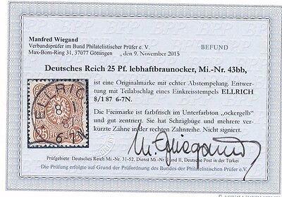DEUTSCHES REICH - 43 bb - eine der seltensten Marken - 25 PFENNIG - mit Befund !