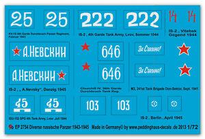 Peddinghaus-2754-1-72-DIVERSOS-Rusa-Panzer-IS-2-kv-1-s-churchill-Mk-iv-m3-IS