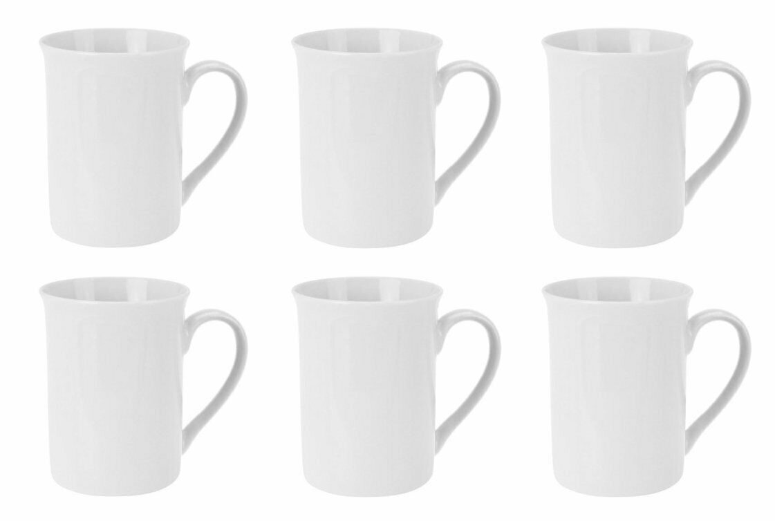 Kaffeebecher Kaffeetassen Porzellan Weiß mit Henkel 6 Stück Set Modellauswahl