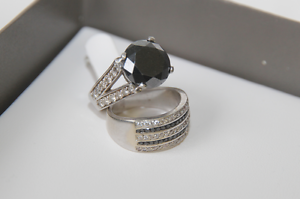 7.3ct Black Diamond Engagement ring &wedding ring.cert $15,300 Sutherland Sutherland Area Preview
