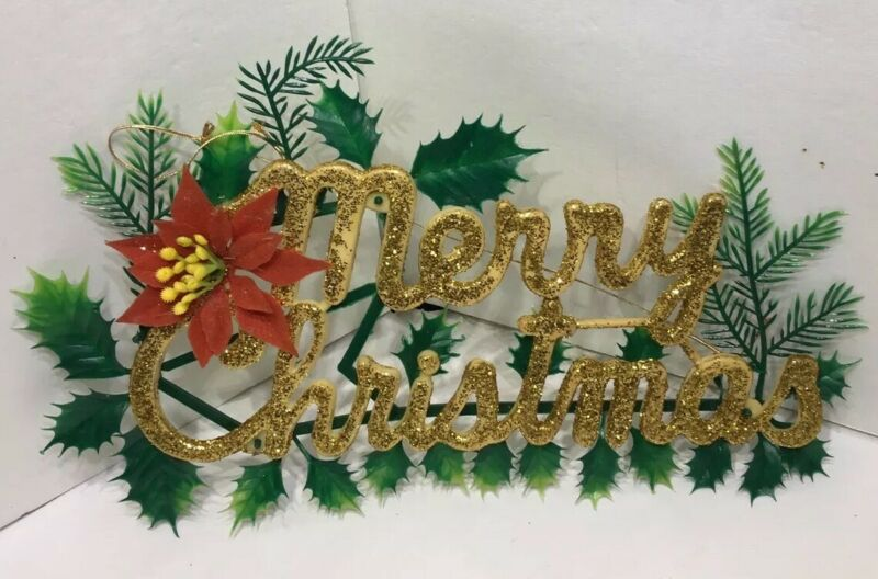 Vintage Plastic Gold Glitter MERRY CHRISTMAS Sign Poinsettia Holly Pine Sprigs