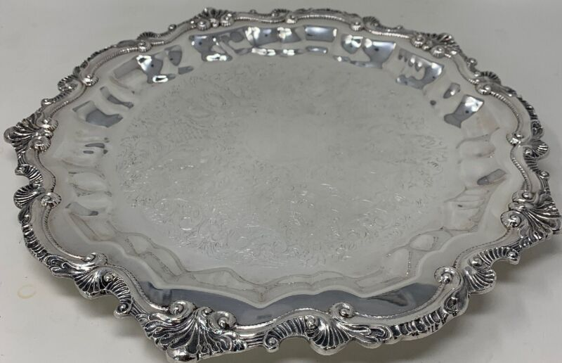 """Vintage 15"""" Silverplate WALLACE """"Chippendale"""" Footed Serving Tray X110 (19-91)"""