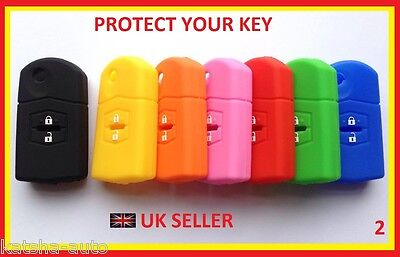 MAZDA 2 3 5 6 MX5 RX8 2 BUTTON CASE COVER FLIP KEY FOB REMOTE SILICONE HULL 2