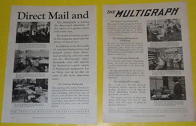 Multigraph Direct Mail Machines 2 Page 1928 Advertisement Great Illus Nice See