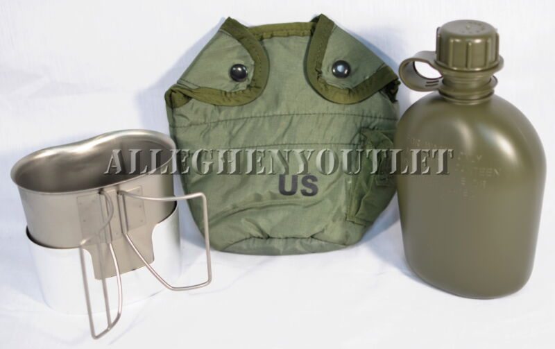 USGI Military 1 QT PLASTIC CANTEEN SET w COVER, STAINLESS CUP, STOVE / STAND NEW