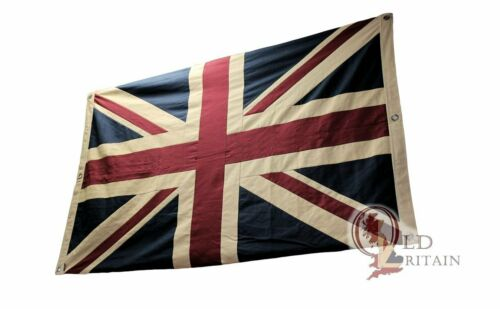Large Double Sided Vintage Tea Stained Union Jack Flag | Cotton - UJ101D 5 x 3