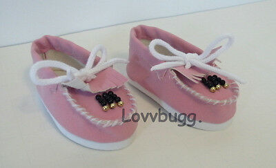 """Lovvbugg Pink Beaded Moccasin for 18"""" American Girl or Bitty Baby Doll Shoes"""