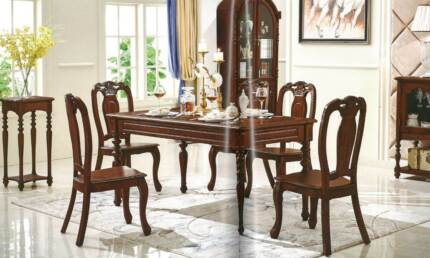 Brand New 7 Pieces Dining Table Set - Reproduction Antique Style