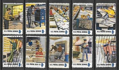 Postal Stamps - T&G STAMPS - 1489- 1498 Postal Service Workers Used Set of 10 (Free Ship Offer)