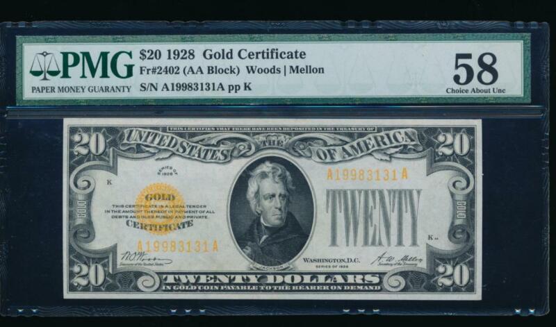 AC Fr 2402 1928 $20 Gold Certificate PMG 58 !!!