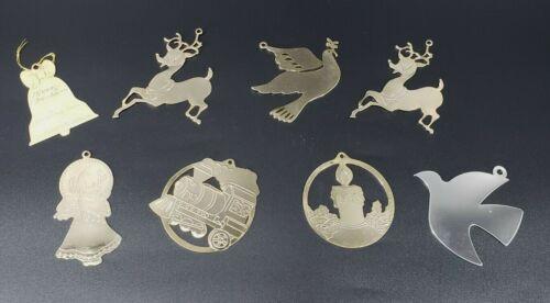 Vintage G Duchin Christmas Tree Ornament Lot of 8 Flat Gold 80s Bell Reindeer