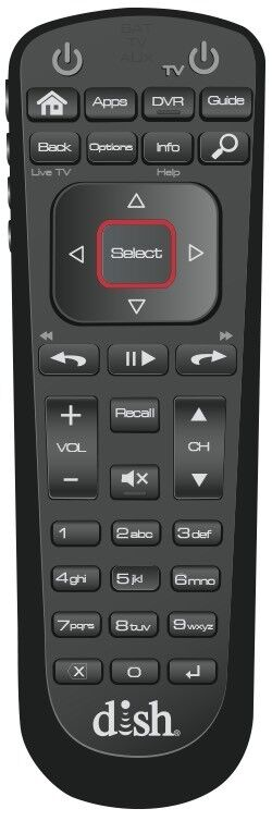 Dish Network 52.0 Satellite Receiver Remote Control For Hopper Wally