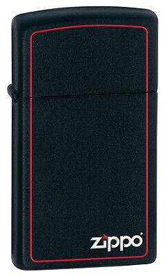 Zippo Windproof Slim Black Matte Lighter W/Zippo Logo & Border 1618ZB New In Box (1618 Black Matte)