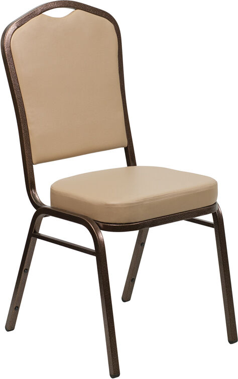 Lot Of 100 Crown Back Stacking Banquet Chairs With Tan Vinyl & Copper Vein Frame