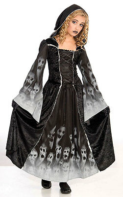 Girls Black Vampire Ghost Halloween Gothic Medieval Costume Outfit AGE 8-13 NEW