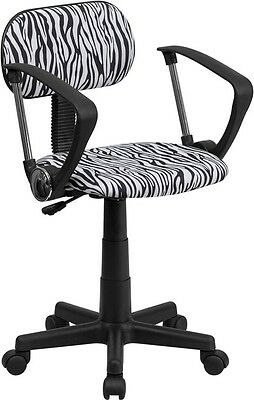 Black And White Zebra Printed Computer Office Desk Chair With Arms